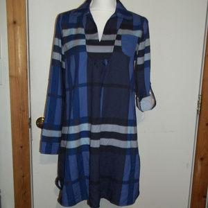 Plaid Dress Tabbed Sleeves L